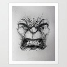 Hulk face Art Print