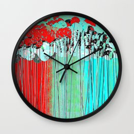 Long Stem Abstract Flowers Wall Clock