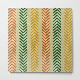 Ethnic Orange, Green & Gold Arrows Metal Print
