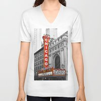 theater V-neck T-shirts featuring Chicago Theater by Chris Martin