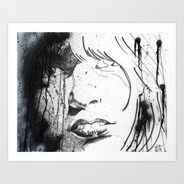 Splattered Portrait Art Print