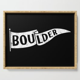 Boulder Colorado Pennant Flag B&W // University College Dorm Room Graphic Design Decor Black & White Serving Tray