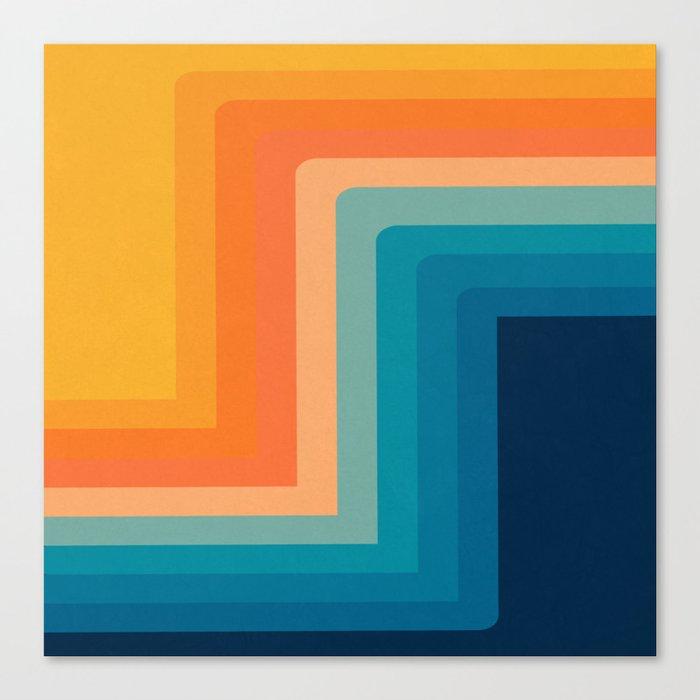Retro 70s Color Lines Leinwanddruck