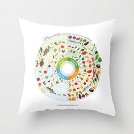Massachusetts Seasonal Local Food Calendar Throw Pillow