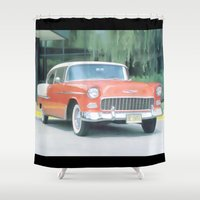 sports Shower Curtains featuring 1955 Chevrolet Sports Coupe by Ray Cowie