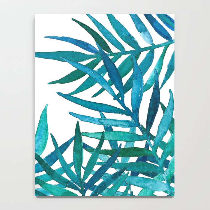 Watercolor Palm Leaves on White Notebook