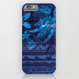 Vintage Hawaiian Blue Tribal Jungle Grunge iPhone Case