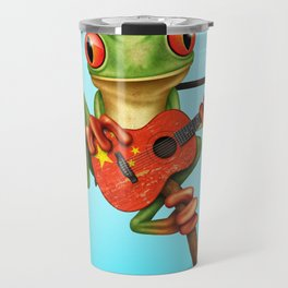 Tree Frog Playing Acoustic Guitar with Flag of China Travel Mug