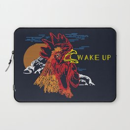 Wake Up Monoline Rooster Graphic Laptop Sleeve