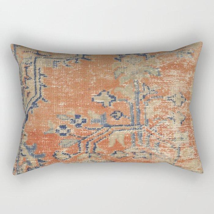 Vintage Woven Navy and Orange Rectangular Pillow