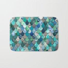 Mermaid Pattern, Sea,Teal, Mint, Aqua, Blue Bath Mat