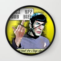 spock Wall Clocks featuring Spock.... by PsychoBudgie