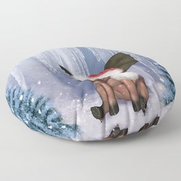 Christmas, cute little piglet Floor Pillow