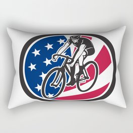 American Cyclist Cycling USA Flag Icon Rectangular Pillow
