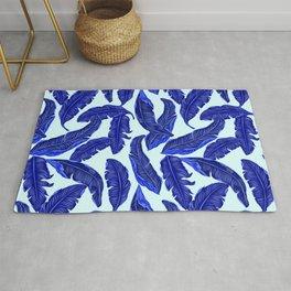 Banana leaves tropical leaves blue white #homedecor Rug