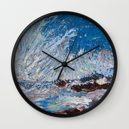 Ocean Waves - palette knife abstract painting of sea landscape Wall Clock