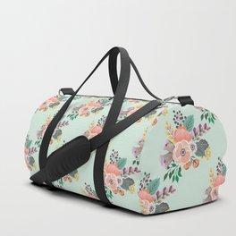 Soft Florals on Mint Duffle Bag