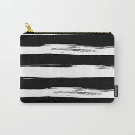 Paint Stripes Black and White Carry-All Pouch