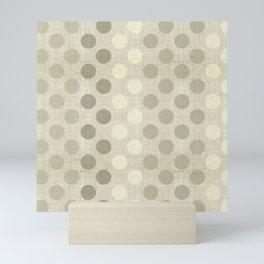 """Nude Burlap Texture and Polka Dots"" Mini Art Print"
