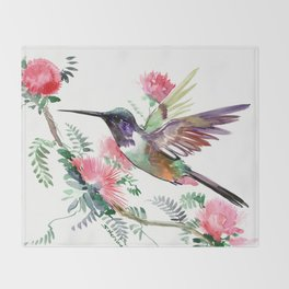 Flying Hummingbird and Red Flowers Throw Blanket