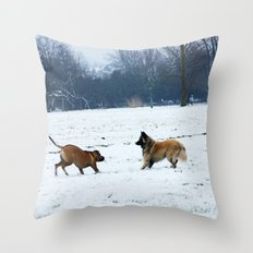 Lets play - Dogs in the snow Throw Pillow