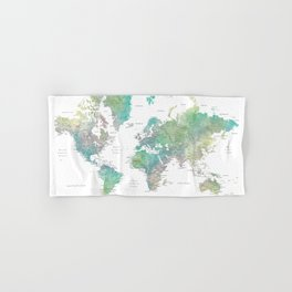 Watercolor world map in muted green and brown Hand & Bath Towel