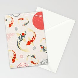 Koi Fish Yin Yang Geometrical Abstract Stationery Cards