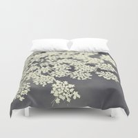 queen Duvet Covers featuring Black and White Queen Annes Lace by Erin Johnson