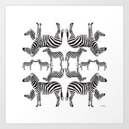 Zebra parade Art Print