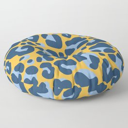Leopard Print Navy and Yellow Pattern Floor Pillow