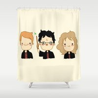 potter Shower Curtains featuring Happy Potter by Keasy