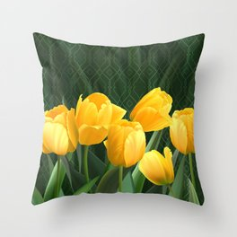 Yellow Tulips with Pattern Throw Pillow