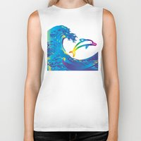 hokusai Biker Tanks featuring Hokusai Rainbow & dolphin_C by FACTORIE