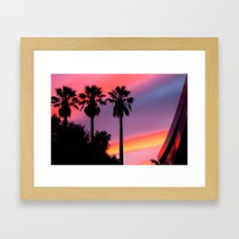 Palm Tree Sunset Silhouette Framed Art Print