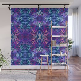 Japanese Stencil Pattern #2   Flowing Water Waterwheel Basket Weave  Blue & Purple Watercolor Wall Mural