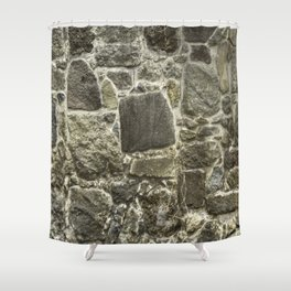 Weathered Stone Wall rustic decor Shower Curtain