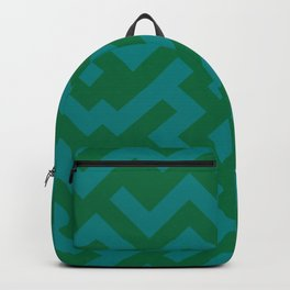 Teal Green and Cadmium Green Diagonal Labyrinth Backpack