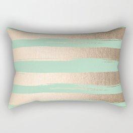 Painted Stripes Gold Tropical Ocean Green Rectangular Pillow