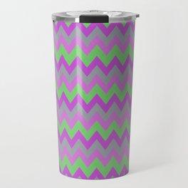 pink purple and green chevron Travel Mug