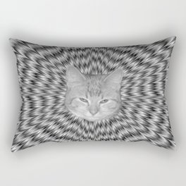 Dizzy Cat Abstract in Monochrome Rectangular Pillow