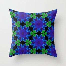 Indigo Green Roulette Geometric Pattern Throw Pillow