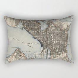 Vintage Map of Seattle Washington (1908) Rectangular Pillow