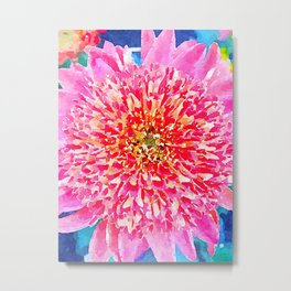 Pink Watercolor Flower Metal Print