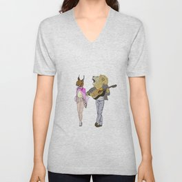The Lion and the Caracal Unisex V-Neck