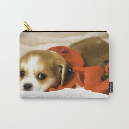 Beaglier Puppy Wearing a Red Collar Lying on a White Sheet Next to Red Roses Carry-All Pouch