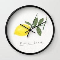 lemon Wall Clocks featuring lemon by Hello Sunwoo