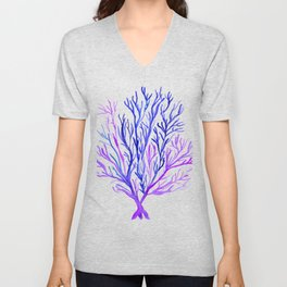 Blue Purple Watercolour Seaweed Unisex V-Neck