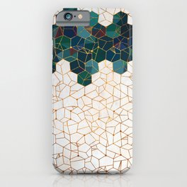 Teal and Cream Organic Hexagons iPhone Case
