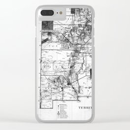 Vintage Map of New Mexico (1882) BW Clear iPhone Case