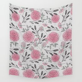 Soft and Sketchy Peonies Wall Tapestry